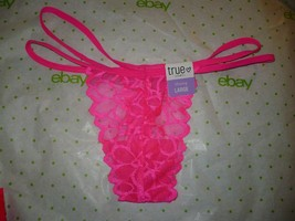 Rue 21 Women's Thong Panties X-LARGE Neon Pink Lace W Strappy Sides NEW - $9.79