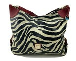 Dooney & Bourke Bucket Handbag Black and White Zebra Print Red Trim Hobo Satchel