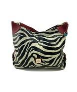 Dooney & Bourke Bucket Handbag Black and White Zebra Print Red Trim Hobo Satchel - $84.10