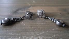 Antique Silver Screw Clip Dangle Earrings - $42.56