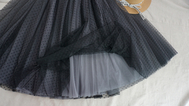 Black Midi Tutu Skirt Polka Dot Tulle Skirt Wedding Guest Skirt Outfit image 3