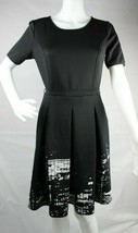 Elie Tahari women's scoop neck short sleeve knee length dress black size 4 - $39.78
