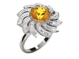 1.76Ct Round Cut Citrine & Sim.Diamond Fancy Wedding Ring In 14KT White ... - £115.20 GBP
