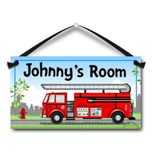 "Red Firetruck, Kids Door Sign, 5.5"" x 10.5"", Personalized Plaque - $13.00"