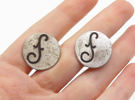 925 Sterling Silver - Vintage Oxidized Etched Detail Round Cuff Links - ... - $28.05