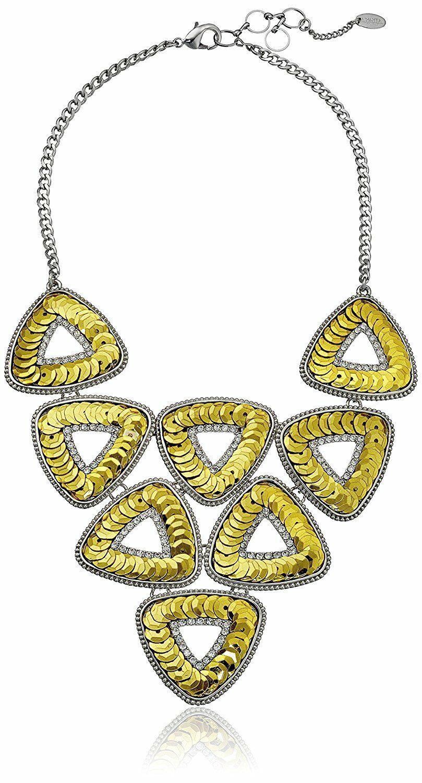 "NEW 19""+2"" Amrita Singh Noho Gold/Silver Triangle sequin statement Necklace NIB"