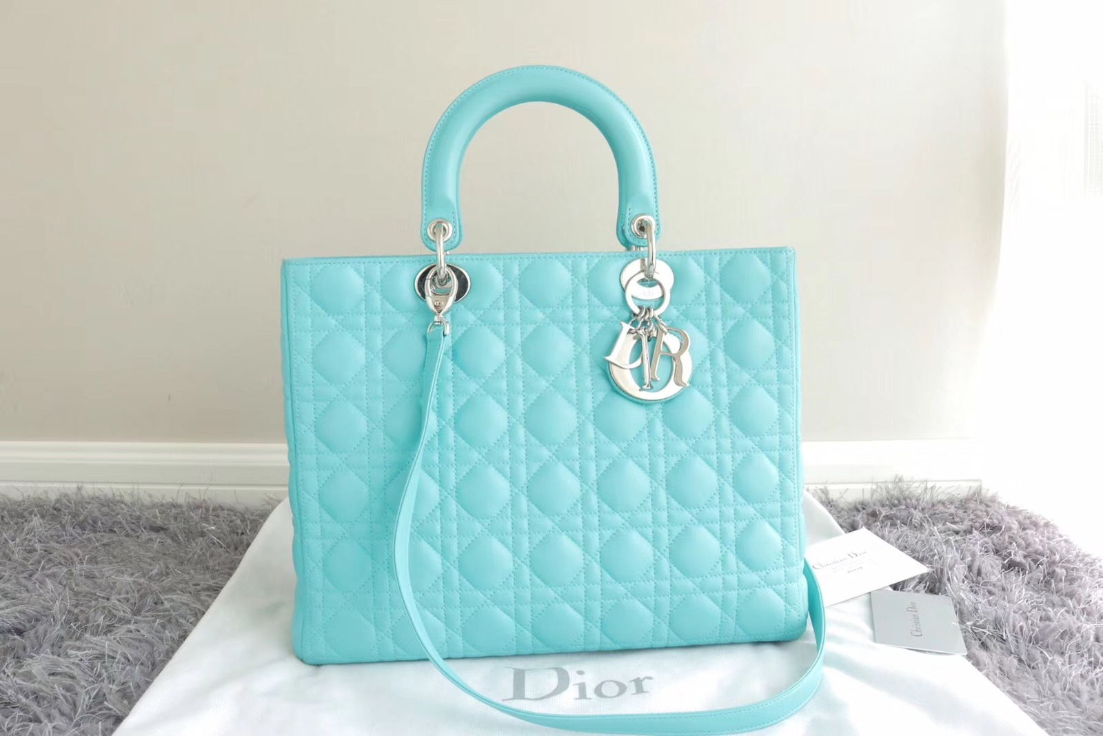 100% Authentic Christian Dior Large Lady Dior Tiffany Blue Lambskin Cannage Bag