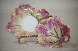 Antique Condiment Server & Plate Cabbage Leaf Hand Ptd Pink Yellow Green - $15.00