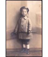 Viele Guispe Herbert RPPC Child with Otto Weddigen German Navy Hat Band - $39.75