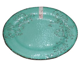 APHORISM Turquoise Crackle Embossed Scroll LRG Melamine Oval Platter NWT 3 Avail - $38.99