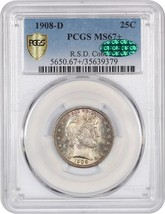 1908-D 25c PCGS/CAC MS67+ Tied for Finest Known - Barber Quarter - $18,915.00