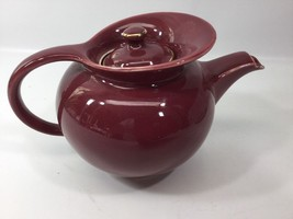 Hall China Windshield Teapot 6 Cup With Lid Maroon Gold Trim - $24.74