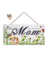 Mom Sign, Bird Nest and Flowers Door Sign, Mother's Day Gift For Mom, 5x... - $11.39