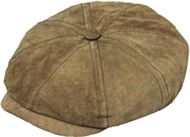 Henschel Genuine Suede Newsboy Cap Plaid Cotton Lining Closed Back Brown - £45.04 GBP