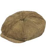 Henschel Genuine Suede Newsboy Cap Plaid Cotton Lining Closed Back Brown - $59.00
