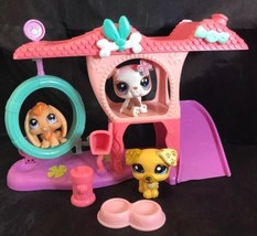 Littlest Pet Shop Playful Puppy Play Set With 3 Pets Hydrant Dog Dish - $19.79