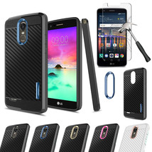 For LG Stylo 3 / 3 Plus Shockproof Carbon Fiber TPU Case Cover + Tempere... - $16.00