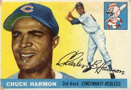 1955 Topps Baseball Card CHUCK HARMON #82 Chicago Cubs Corner Issues - $3.95