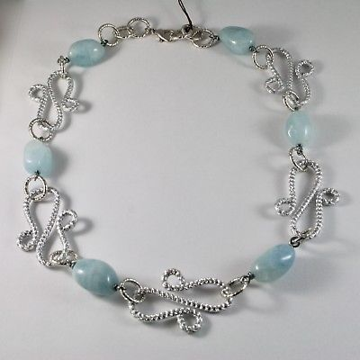 ALUMINUM NECKLACE WITH NATURAL BLUE AQUAMARINE HAND-MADE IN ITALY 21 IN LONG