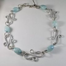 ALUMINUM NECKLACE WITH BLUE AQUAMARINE HAND-MADE IN ITALY 21 INCHES LONG image 4