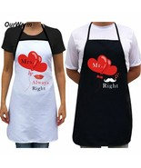 Polyester Material Couple Kitchen Apron Mr And Mrs Letter Heart Print De... - $19.79