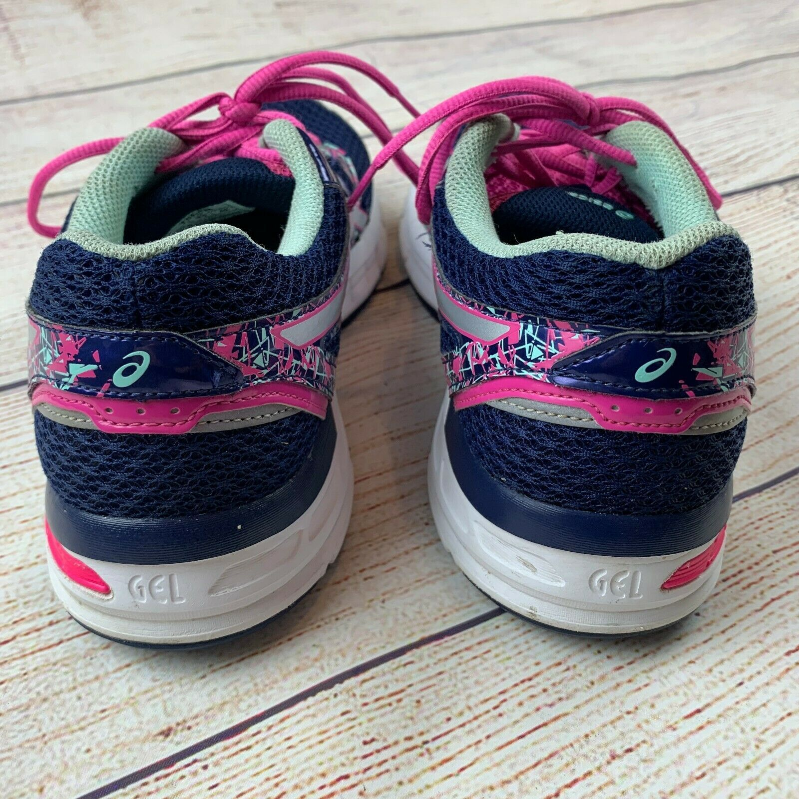 Asics womens Gel Excite 4 Navy Pink Running Shoes Sneakers 10/ 42 EUC image 4