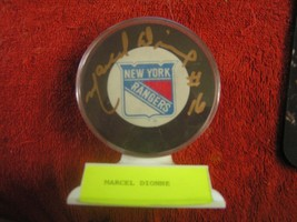NY Rangers Marcel Dionne Autographed Signed Hockey Puck 1991-92 W/ Case & Stand - $24.70