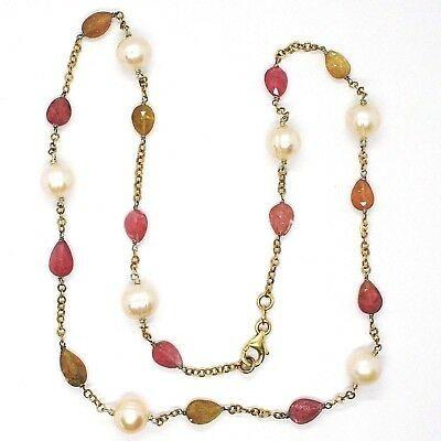 Halskette Silber 925, Gelb, Turmalin Tropf, Perlen Tonde , Kette Rolo