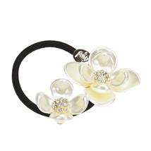 Retro Pearls diamond B Rope Scruchie Poytail Holder #3546 - $5.99