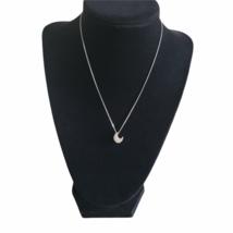 """Swarovski Crystal Crescent Moon Necklace Adjustable 15"""" -17"""" Swan Signed  - $37.20"""