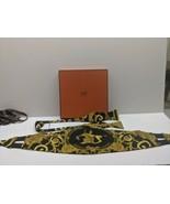 Authentic Hermes Silk Bow Tie Cummerbund Set Blk n Gold Clasp gold origi... - $346.49