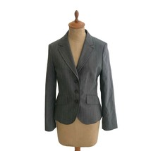 Benetton Made In Romania Womens Gray Pinstriped Tailored Blazer Fitted J... - $18.56