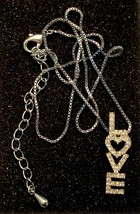 """Pave Rhinestone Necklace """"Love"""" Pendant Adjustable Style Silver Tone Chain - $19.75"""