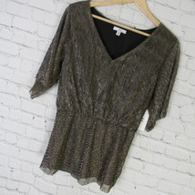 H Halston Shirt Top Tunic Womens Medium M Gold Metallic Pleated MRSP $99 - $46.06