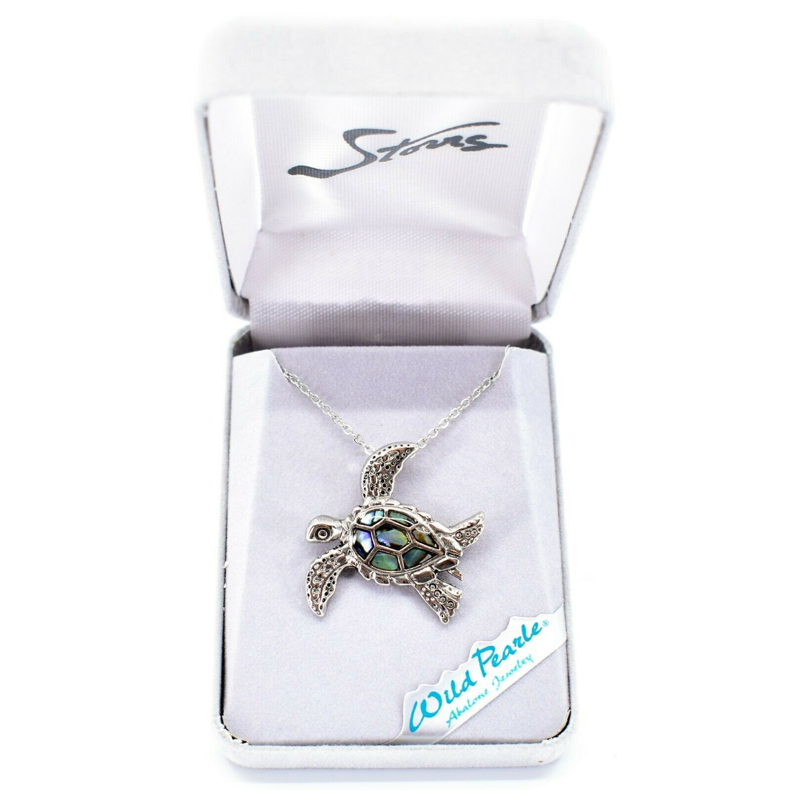 Storrs Wild Pearle Abalone Shell Swimming Sea Turtle Pendant w Necklace
