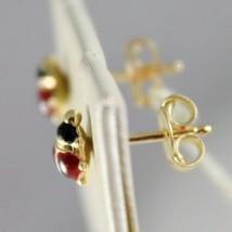 18K YELLOW GOLD EARRINGS MINI 5MM GLAZED LADYBIRD LADYBUG FOR KIDS MADE IN ITALY image 2