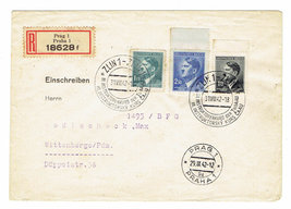 1942 Prague Bohemia Moravia Registered Cover With Hitler Postage Stamps