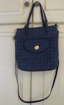 TOMMY HILFIGER Crossbody Tote Bag Signature Navy Gold Hardware w/ Dust Bag - $34.65