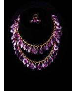 Antique czech necklace / GORGEOUS Amethyst glass teardrops / victorian e... - $550.00