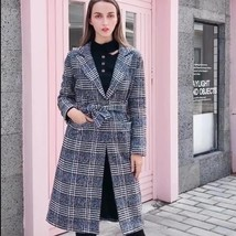 New Women's Brand Fashion Plaid Checkered Wool Blended Coat