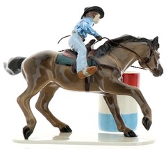 Hagen-Renaker Specialties Ceramic Horse Figurine Rodeo Barrel Racer with Barrel image 3
