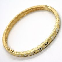 SOLID 18K YELLOW WHITE GOLD BRACELET, RIGID, BANGLE, FINELY WORKED WITH FLOWER image 3