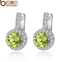 BAMOER Silver Color Stud Earrings with Light Green Round Zircon for Wome... - $11.91