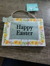 Happy Easter Wood Hanging  Sign Small Yellow Flower~New~Shipsn24  - $7.80