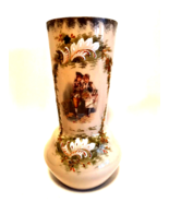 Victorian Decorative Vase Raised Gold White Flowers 10.25 inches Tall     - $136.62