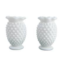 Lot of 2 Vintage Fenton Small Hobnail Milk Glass Vases Ruffled Edge 3 3/... - $19.54