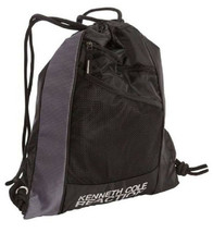 18186-1 Kenneth Cole Black Gray Drawstring Cinch Top Backpack Bookbag $40 - $18.51