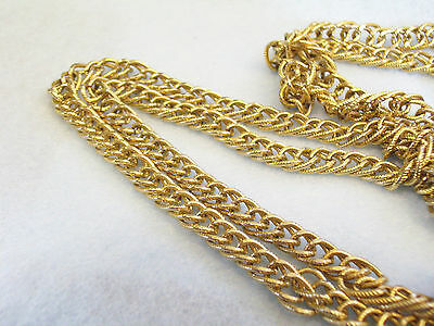 """Crown TRIFARI Long Curb Link Chain Necklace Gold Plated Double Scored Links 54"""""""
