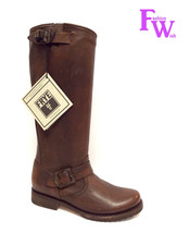 New FRYE Size 6 VERONICA TALL SLOUCH Dark Brown Leather Moto Boots - $268.00