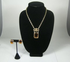 Sarah Coventry Necklace Earrings Clip-on Set 3 Women 18 In Goldtone VTG ... - $29.69